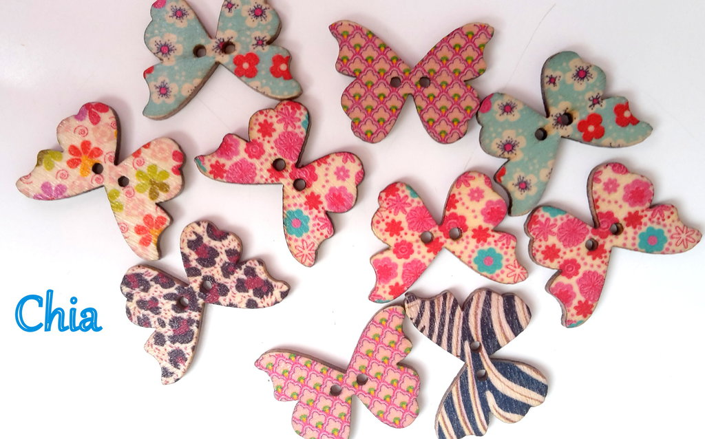10 bottoni legno farfalla 27x20mm