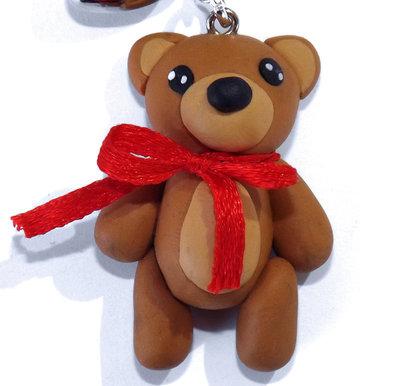 Portachiavi tenero orsetto creato a mano in fimo