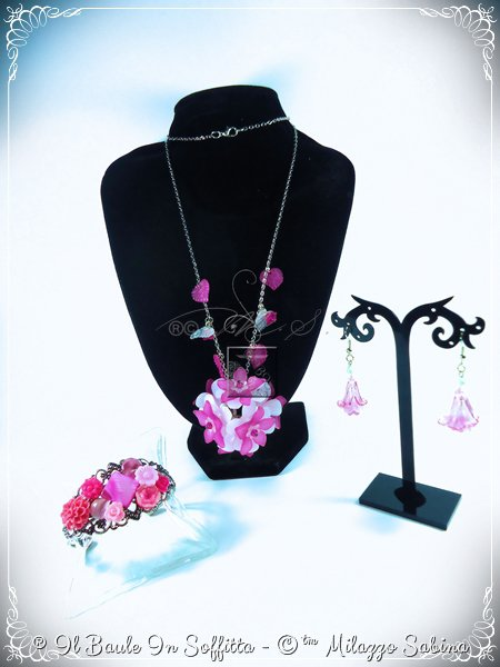 """Parure Collezione """"Floral"""" Versione Rosa/Fucsia"""