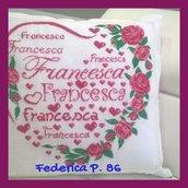 Cuscino ricamato personalizzato con rose