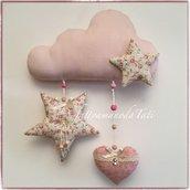 Fiocco nascita a forma di nuvola in cotone rosa con stelle e cuore
