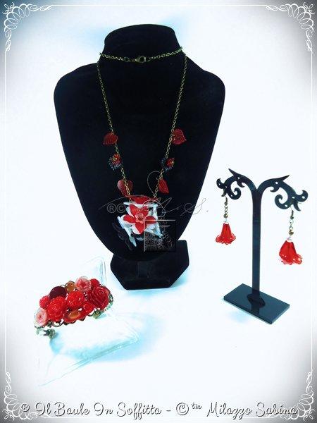 """Parure Collezione """"Floral"""" Versione Rosso/Nero"""