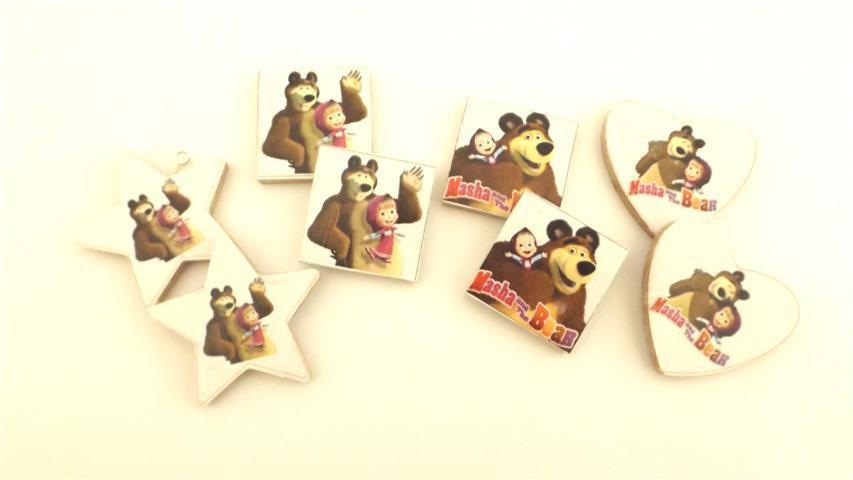 INSERZIONE RISERVATA PER LAURA - 60 pezzi ciondoli legno - no fimo - masha e orso compleanno