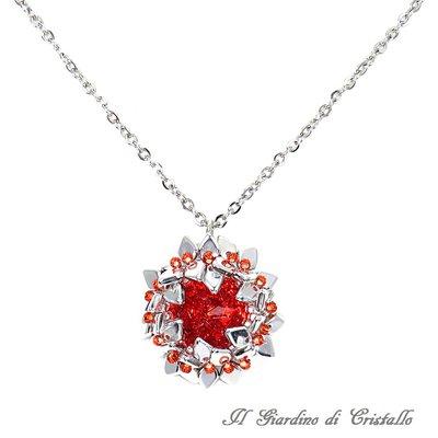 Collana corona d'alloro pendente cristallo Swarovski rosso fatta a mano regalo laurea - Alloro