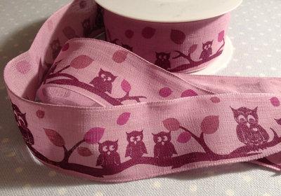 Bellissimo nastro GUFI VIOLA ribbon cucito creativo passamaneria tendaggi bimbo