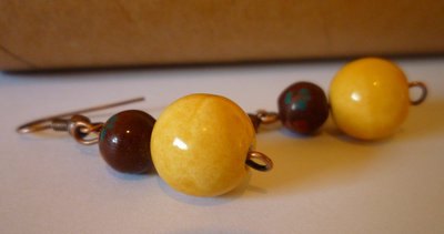 Porcelain Brown and Yellow Earrings