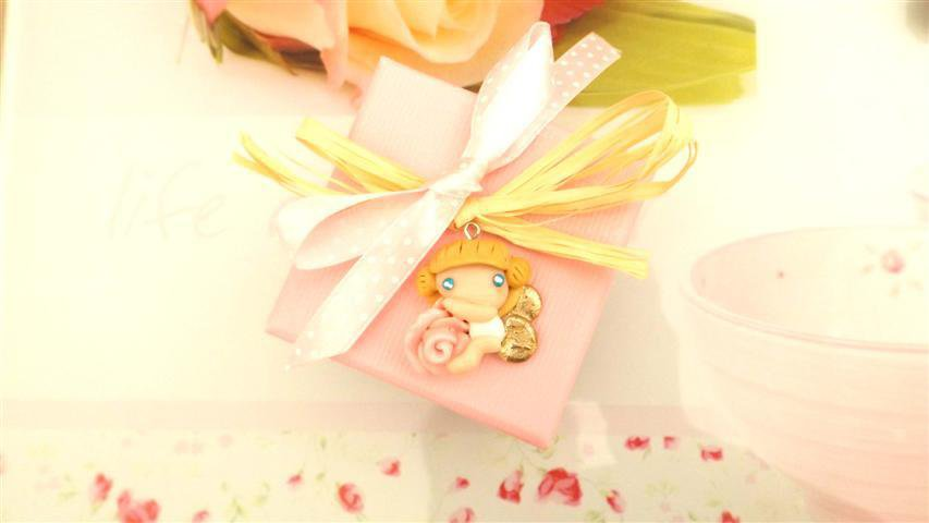 BOMBONIERA CONFEZIONATA ROSA   FIMO - Angeli e Rose - compleanno, comunione, battesimo, nascita, cresima