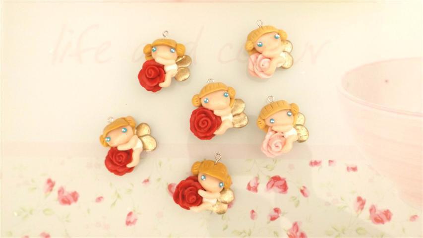 FIMO - CIONDOLO - ANGELI e ROSE - fatine idea regalo bomboniera compleanno