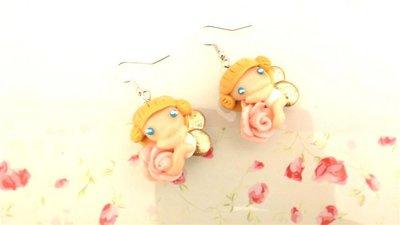 FIMO -PAIO  ORECCHINI  - ANGELI e ROSE  - fatine idea regalo rosa senza fiocchetti