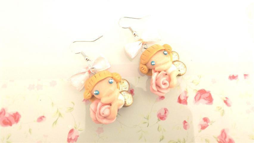 FIMO -PAIO  ORECCHINI  - ANGELI e ROSE  - fatine idea regalo rosa con fiocchetti