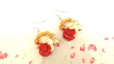 FIMO -PAIO  ORECCHINI  - ANGELI e ROSE  - fatine idea regalo rosso senza  fiocchetti