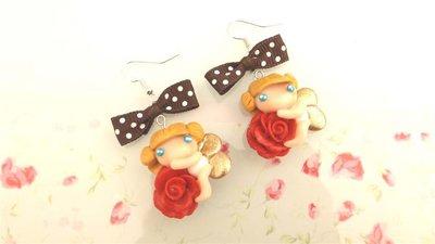 FIMO -PAIO  ORECCHINI  - ANGELI e ROSE  - fatine idea regalo rosso con   fiocchetti