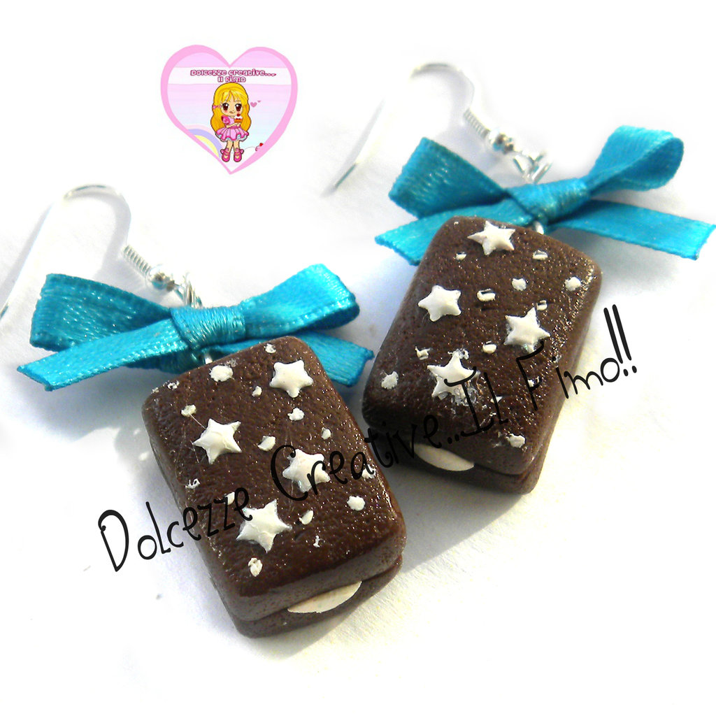 Orecchini Merendina Pan di stelle - Miniature kawaii handmade fiocco cioccolato
