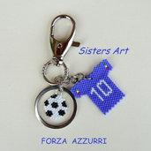 """Portachiavi """"10 azzurro"""" realizzato con perline Miyuki delica"""