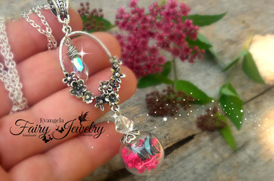Collana ampolla farfalla fiori mezzo cristallo argento