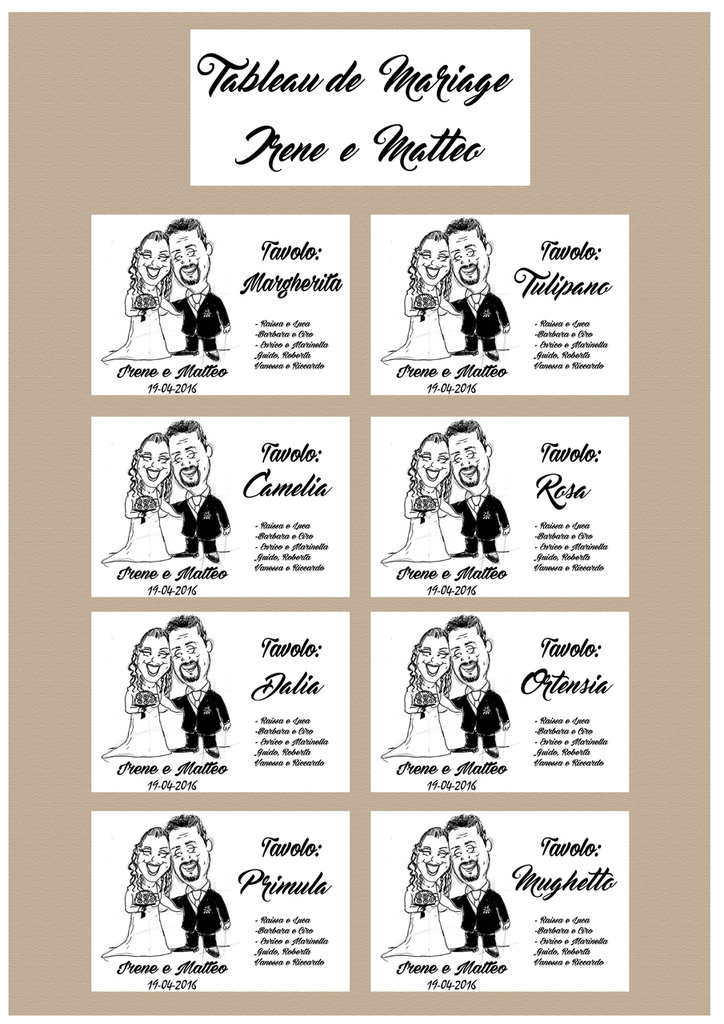 Tableau de marriage con caricatura