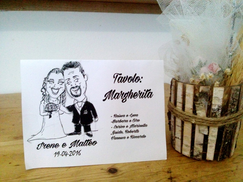 tableau de marriage+segnatavoli con caricatura