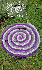 pattern tappeto artigianale a spirale fatto a mano uncinetto