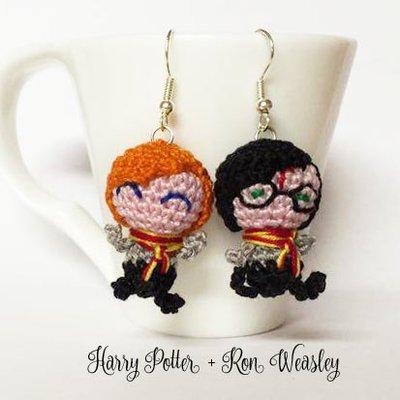 Harry Potter e Ron Wesley orecchini amigurumi uncinetto