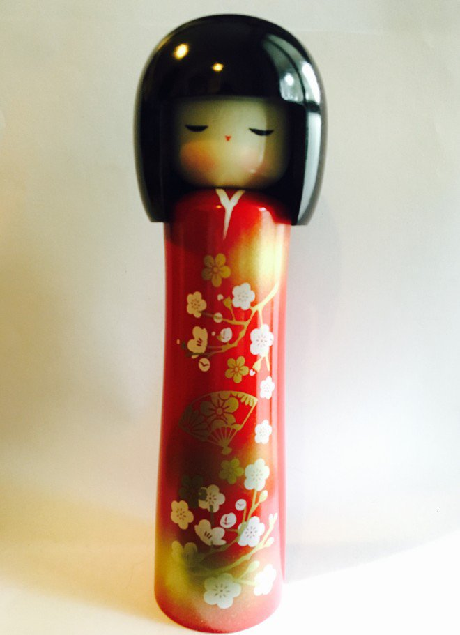 Bambola Kokeshi Ume Rossa