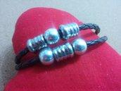 bracciale cuoio inserti alluminio