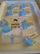 BOMBONIERA Porta confetti con bebè + nome e data battesimo/nascita