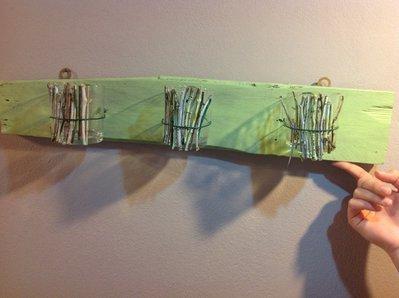 Pannello in legno  porta lumini o piantine aromatiche