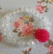 Bracciale elastico cristalli e rosa di resina fucsia