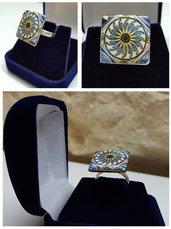 Anello in argento 925 con gemma in porcellana decorata