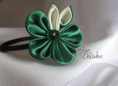 Elastico Fermaglio per capelli con fiore Kanzashi Verde