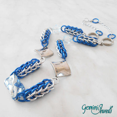 Collana Chainmaille Silver Blu
