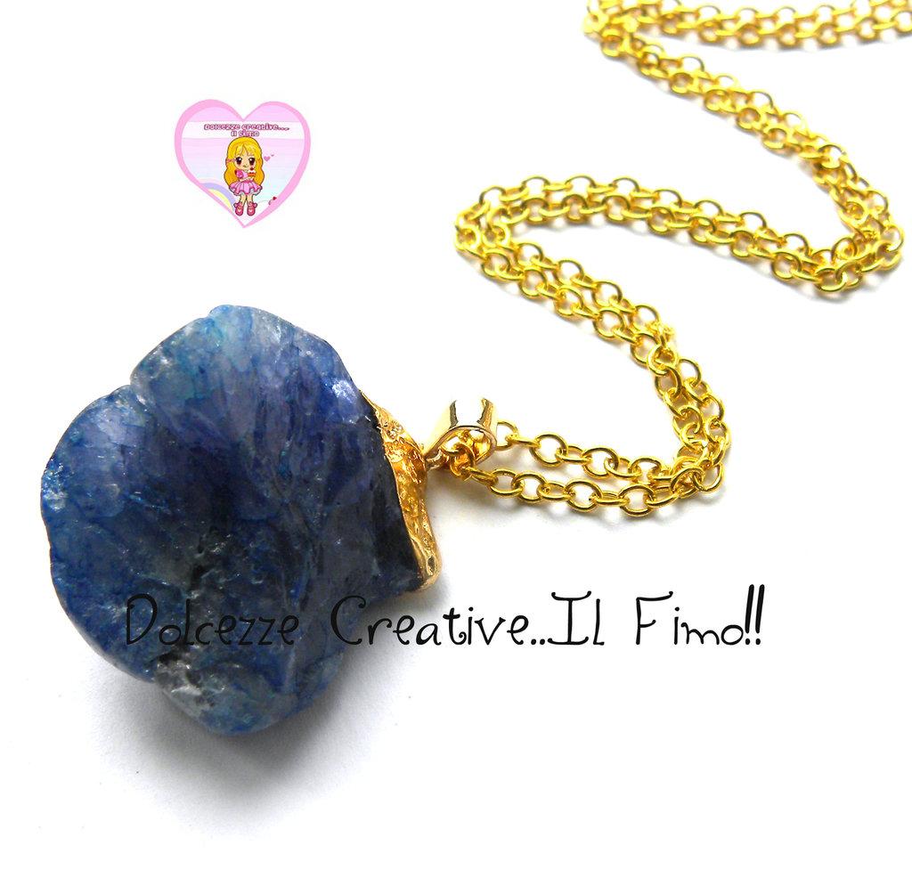 """Collana Collezione """"Precious"""" in cristallo - Sfumature di blu e ottone dorato"""