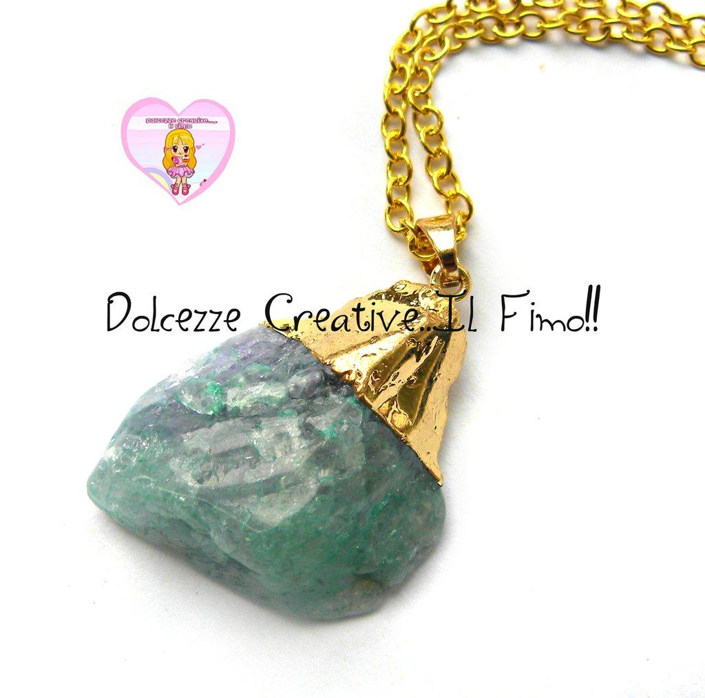 """Collana Collezione """"Precious"""" in cristallo - Sfumature dal verde al viola e ottone dorato"""