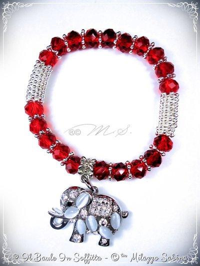 Bracciale elastico con cristalli rossi