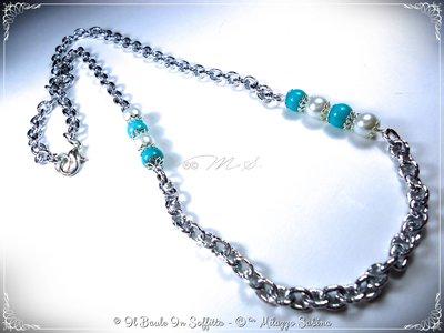 Collana color argento con Perle Bianche e Perle azzurre in Angelite