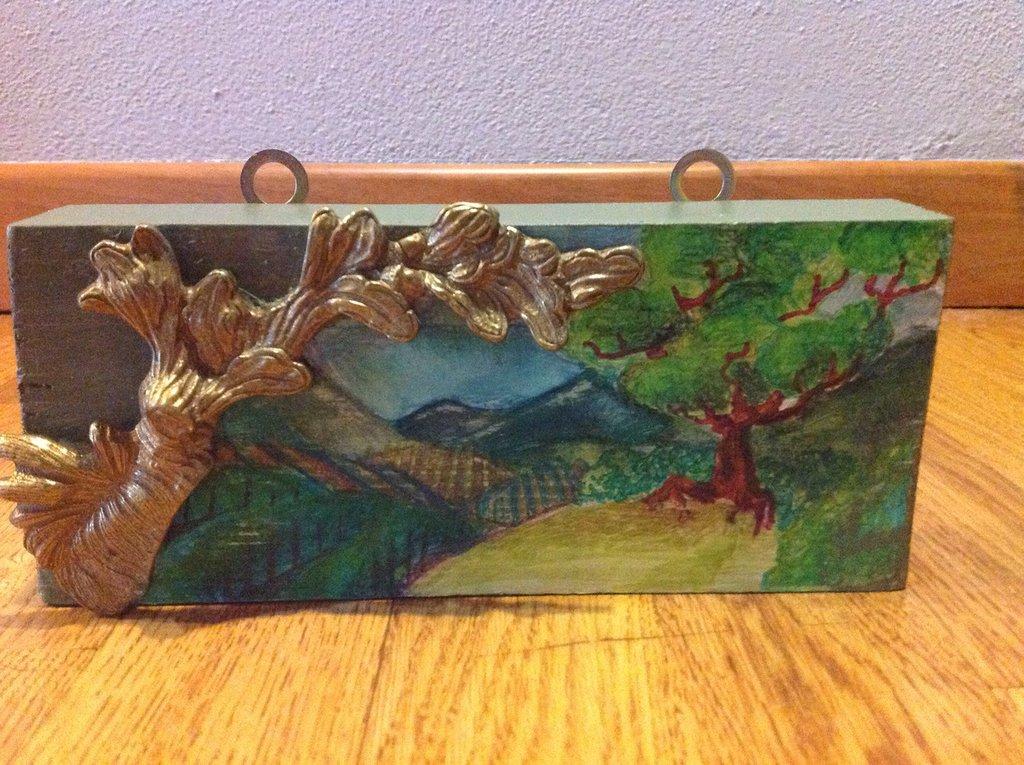 Quadretto bidimensionale paesaggio  su legno
