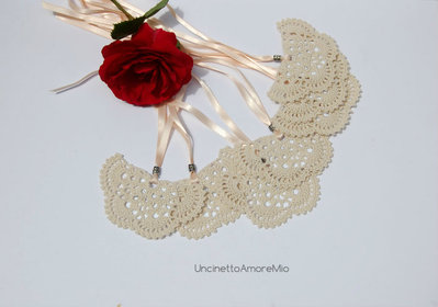 Segnaposto nozze | segnalibro farfalla ad uncinetto e argento