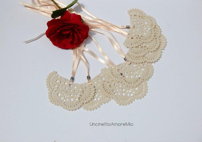 Segnaposto nozze   segnalibro farfalla ad uncinetto e argento