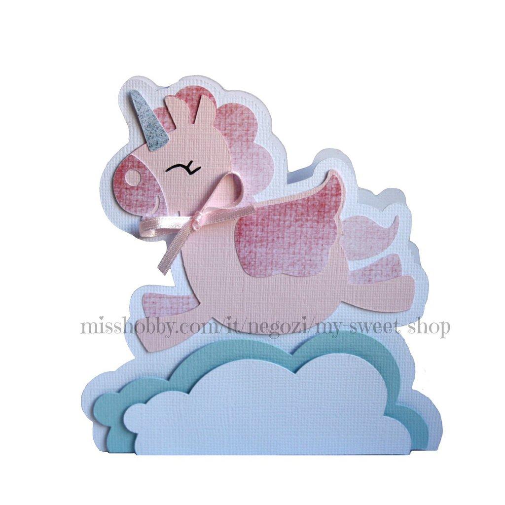 Scatola portaconfetti unicorno rosa