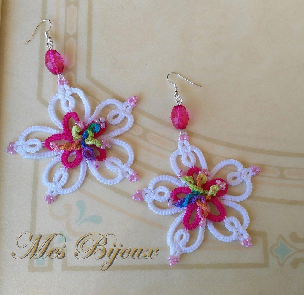 Orecchini moda uncinetto chiacchierino orchidea idea regalo donna ragazza