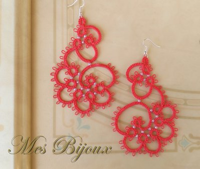 Orecchini moda chiacchierino  handmade corallo