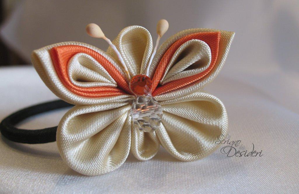 Elastico Fermaglio per capelli con Farfalla Kanzashi Beige e Arancione