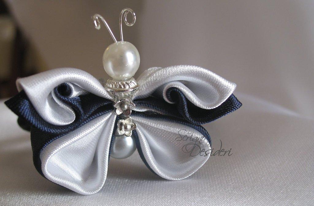 Elastico Fermaglio per capelli con Farfalla Kanzashi Blu e Bianco
