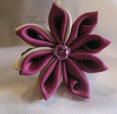 Elastico Fermaglio per capelli con fiore Kanzashi Fucsia e Beige