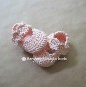 Scarpine ballerine in puro cotone rosa pesca con fascetta, fatte a mano