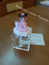 Bomboniera Battesimo/Nascita/Compleanno con scatola in plexiglass