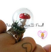Anello Bosco - Ampolla di vetro con fungo - kawaii handmade
