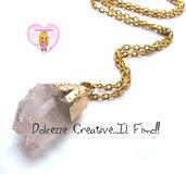 """Collana Collezione """"Precious"""" in cristallo - Sfumature rosa e ottone dorato"""