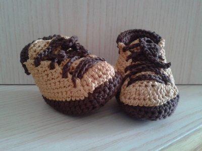 Scarponcini neonato bebè cotone ad uncinetto