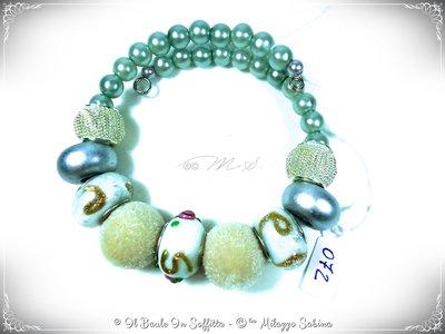 Bracciale in Filo Armonico con Perle di Murano e perla Lampwork